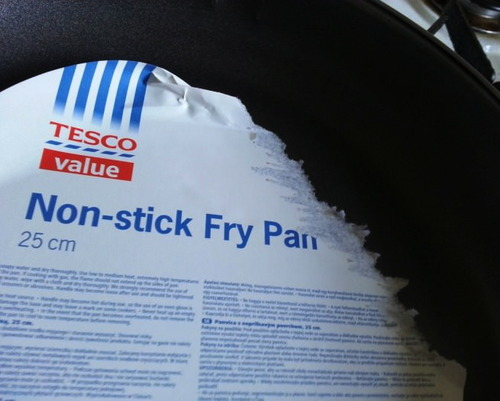 non stick frying pan sticker, fail, lol