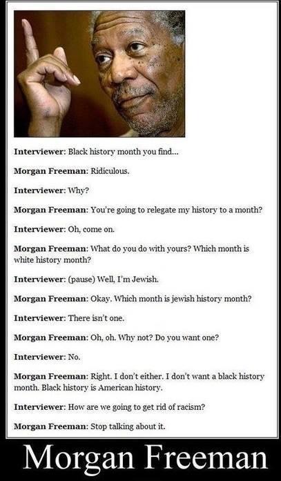 morgan freeman, interview, racism, black history month