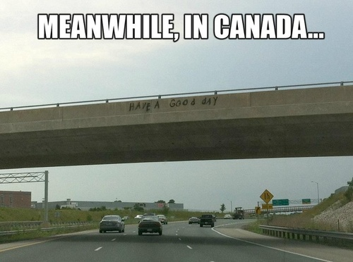 meanwhile in canada, graffiti, have a nice day