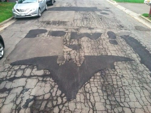batman symbol, road, coincidence