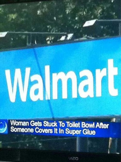 women gets stuck to toilet bowl after someone covers it in super glue, walmart, wtf, troll, prank, lol
