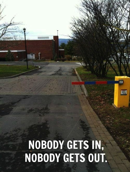 road, barrier, fail, useless, meme, nobody gets in, out