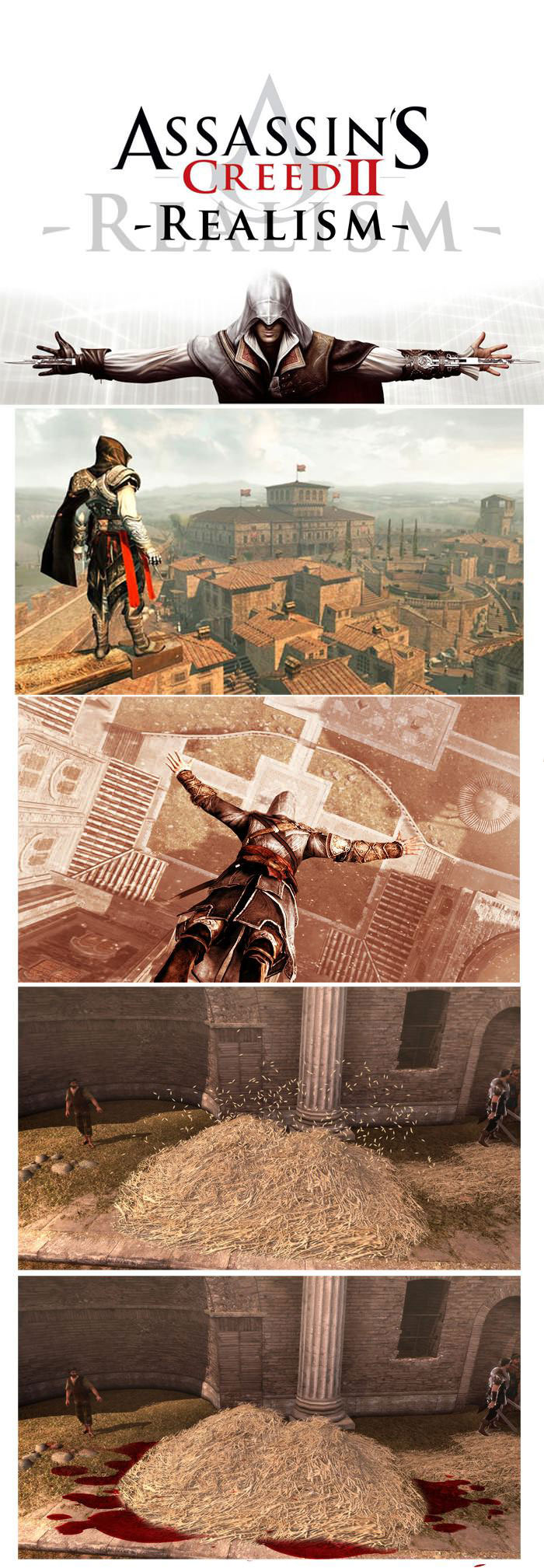 assassin's creed irl, church top leap, hay, blood