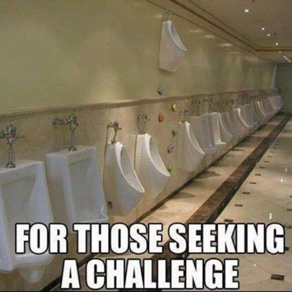 bathroom urinal, high on wall, wtf, challenge, meme