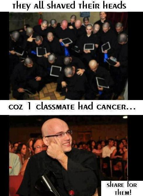 classmate, cancer, shaved head, solidarity
