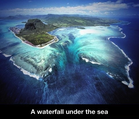 underwater water fall, island, tropical, wow, nature, aerial view