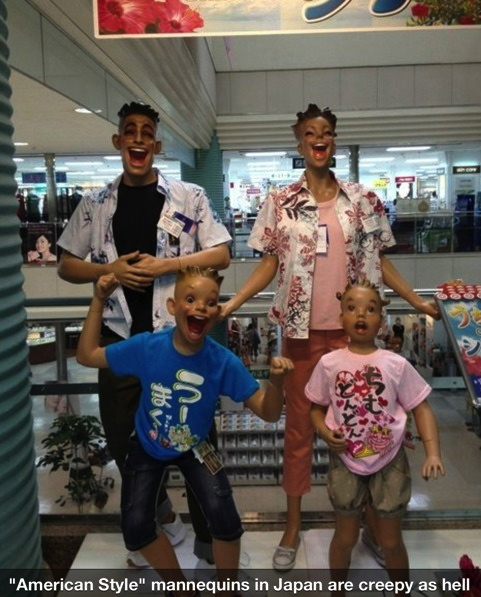 american style mannequins in japan, creepy, wtf