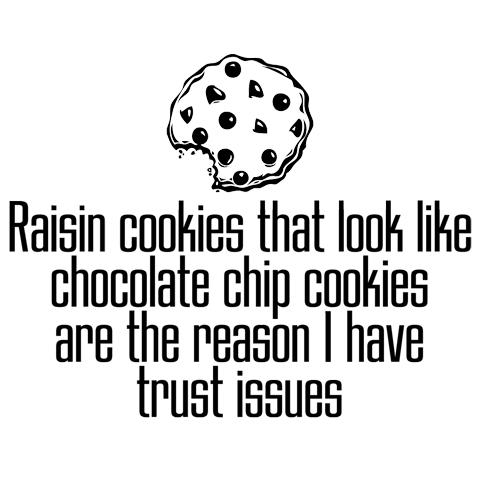 raisin cookies, chocolate chips, trust issues