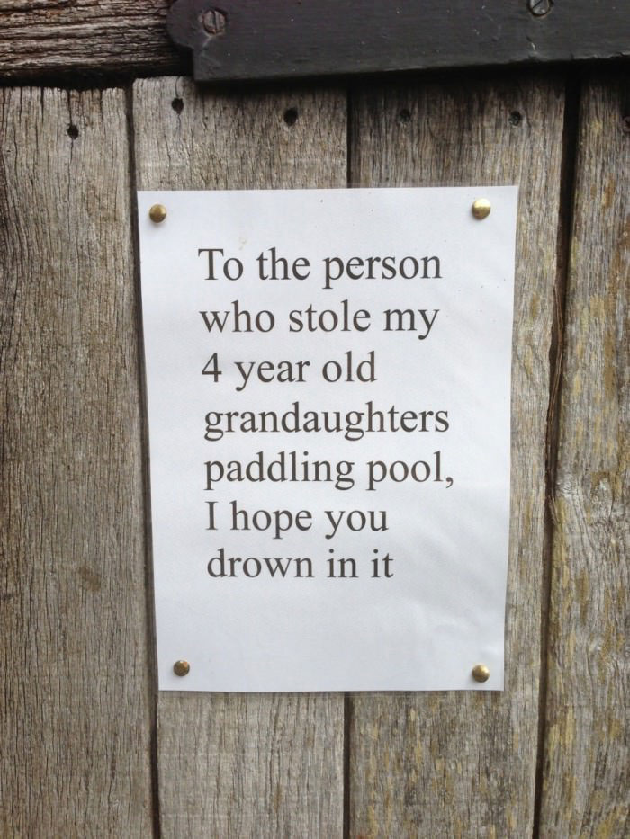 sign, toddler's pool, hate, theft