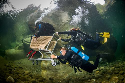 scuba diving, underwater, shopping cart, lol