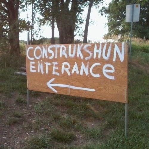 sign, construction, entrance, english, fail