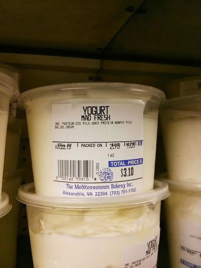 mad fresh yogurt, label, lol, wtf