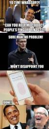 tim cook, barack obama, president, finger prints