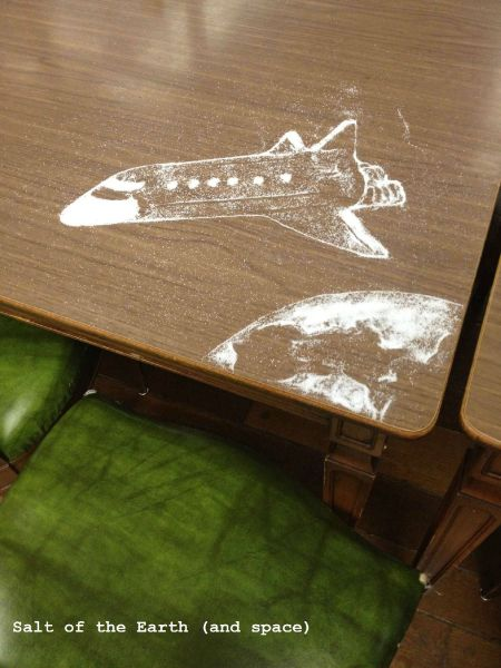 salt of the earth (and space), salt art on a table, spaceship