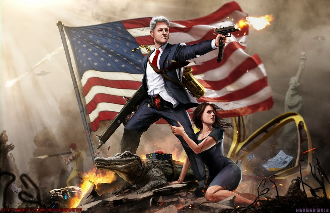 bill clinton, fan art, awesome, flag, alligator, machine gun, wtf, lol