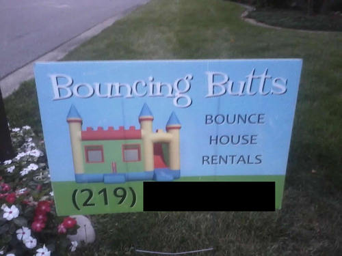bouncing butts, bounce house rental, awkward name
