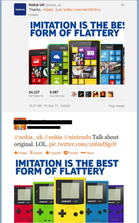 nokia, apple, colors, imitation, flattery, nintendo gameboy