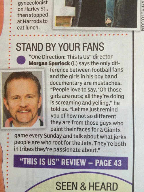one direction, football fan, comparison, newspaper article