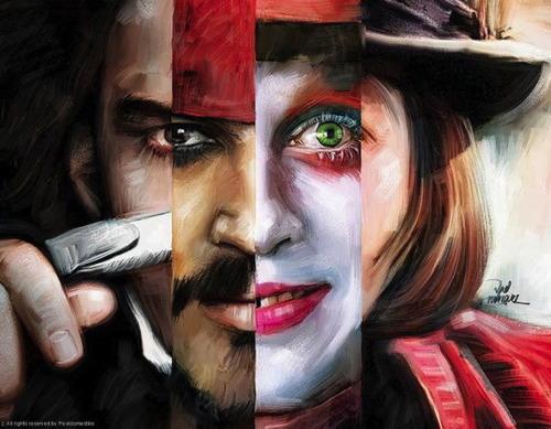 fan art, johnny depp, actor, roles, painting