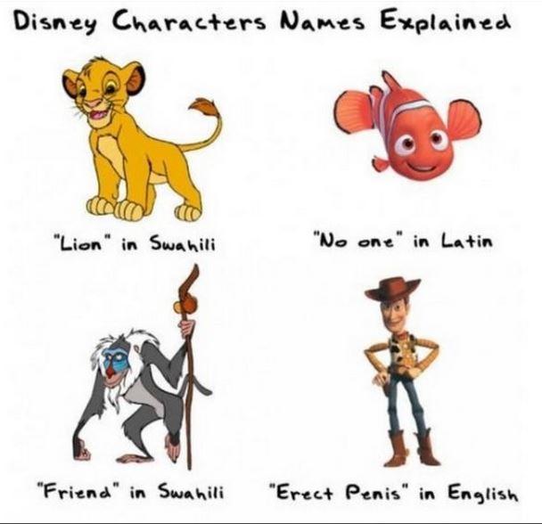 disney names explained, simba, nemo, woody