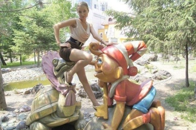 girl, turtle and gnome, lol