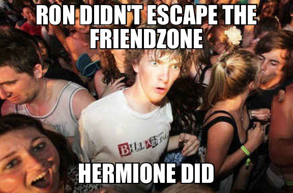 sudden clarity clarence, harry potter, ron, hermione, friend zone