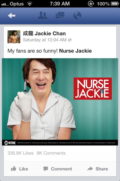 nurse jackie chan, photoshop, facebook, lol