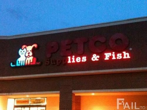 petco, lies and fish, sign, fail, lol