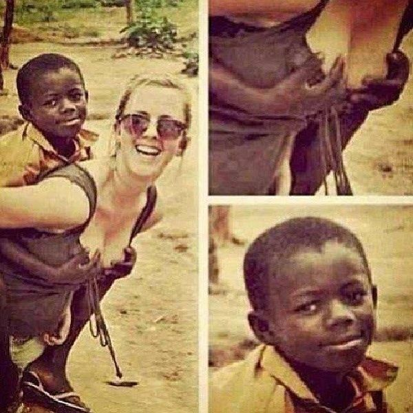 photo, little black kid grabbing boobs, lol