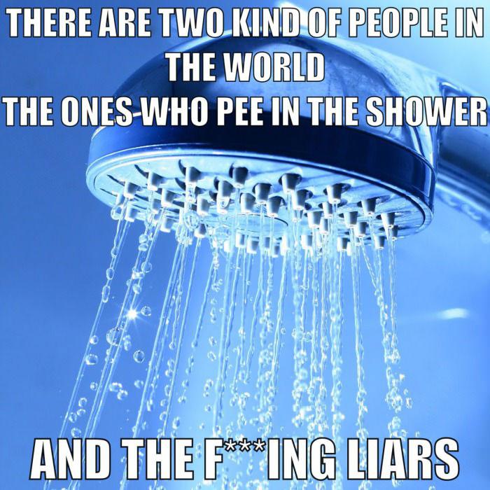 meme, pee in the shower, liars