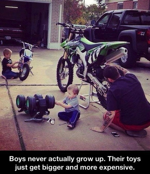 boys never actually grow up, bigger and more expensive toys, parenting win