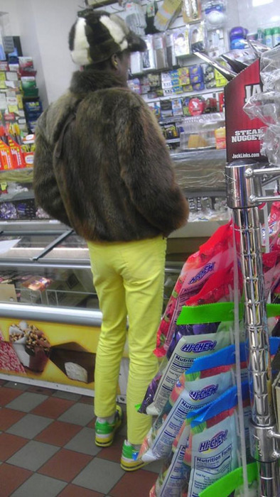 poorly dressed, wtf, fur, yellow pants