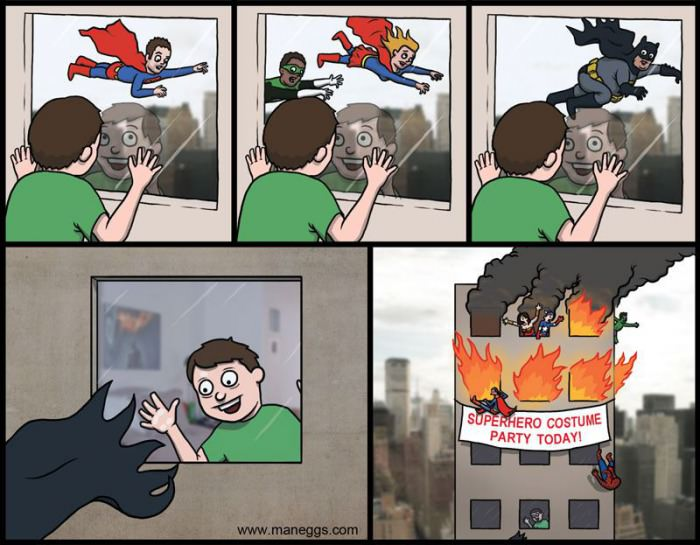 comic, superhero costume party, fire, lol
