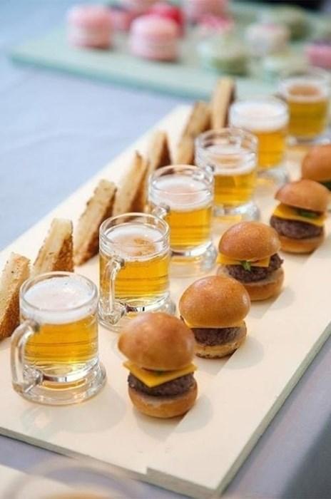 lunch, mini hamburgers, beer, sandwiches