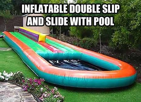 inflatable double slip and slide pool, product, win