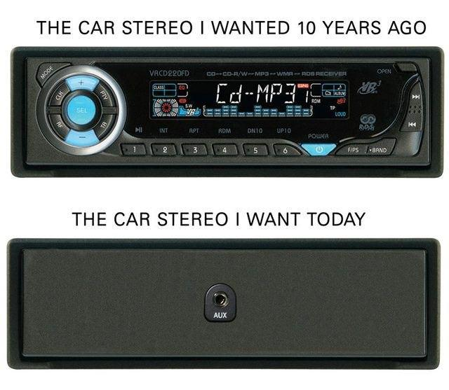 car stereo, 10 years ago, now, today, auxiliary input