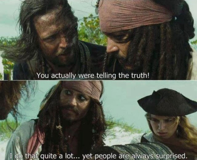 pirates of the caribbean, jack sparrow, telling the truth