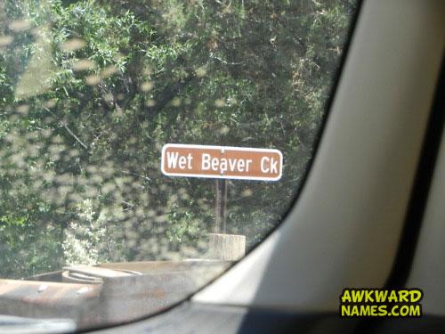 awkward name, wet beaver creek, sign