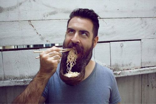 eating noodles from his own beard, wtf