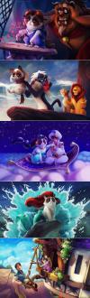 disney scenes, grumpy cat, fan art