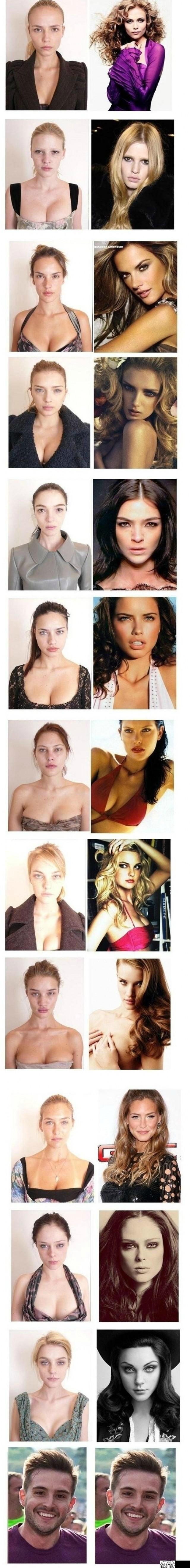supermodels without make up, before and after