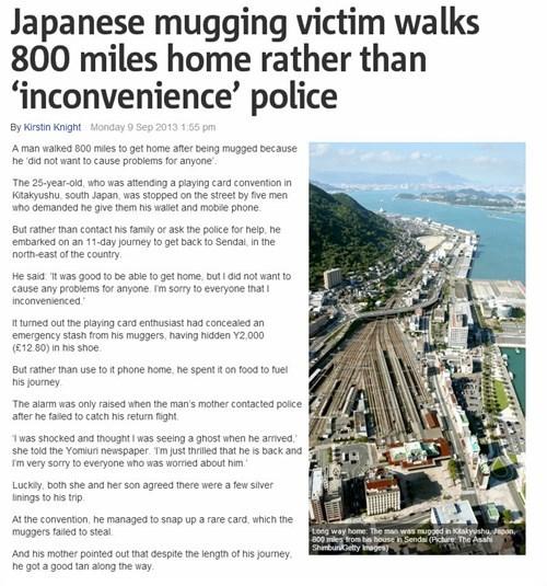 japanese mugging victim walks 800 miles home