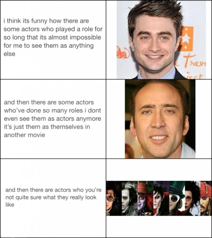 types of actors, daniel radcliff, nicolas cage, johnny depp