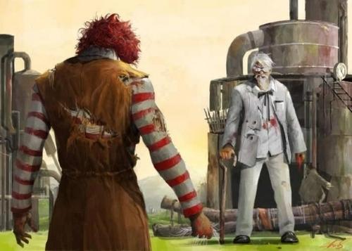 ronald mcdonald, colonel sanders, lol, wtf, fast food chain mascots