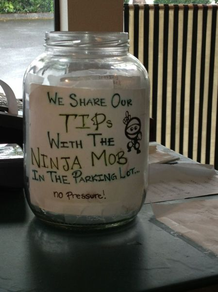 tip jar, creative, ninja mob in the parking lot