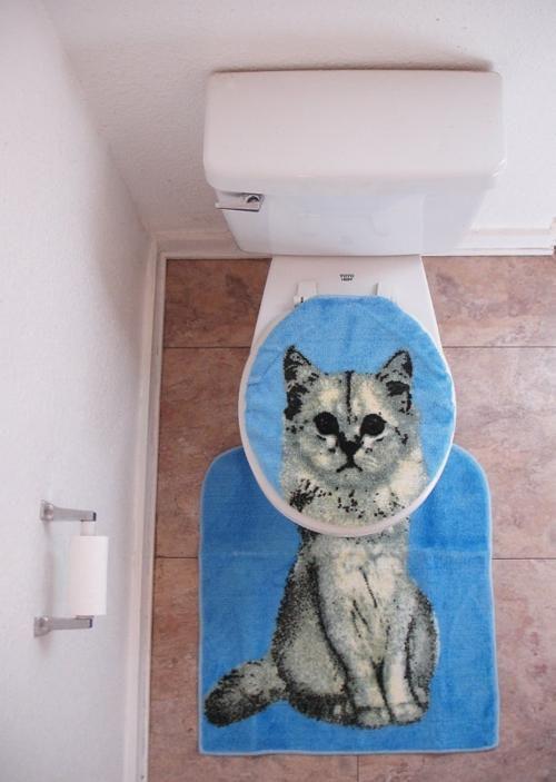 toilet seat cover, bathroom mat, cat, lol