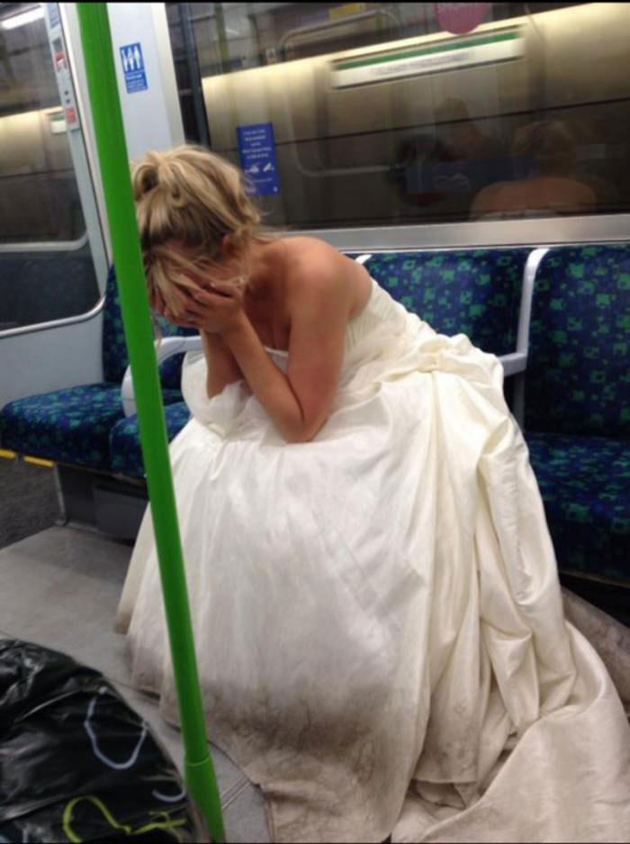wedding dress, public transportation, sad