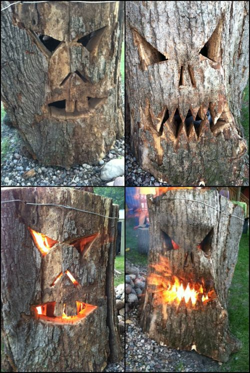 tree stump carving, face, scary, fire, art