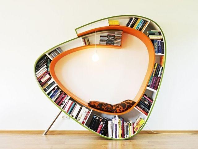 modern bookshelf, chair, win