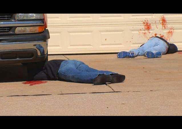 halloween decorations, neighbors, dead bodies, blood, win